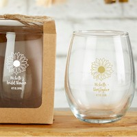 Personalized Stemless Wine Glass - Sunflower Design (9 oz)