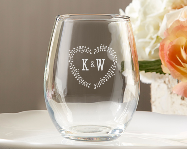 Stemless wine glass wedding favors with personalized rustic leaf heart design