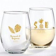 Tropical Design Stemless Wine Glasses (9 oz)
