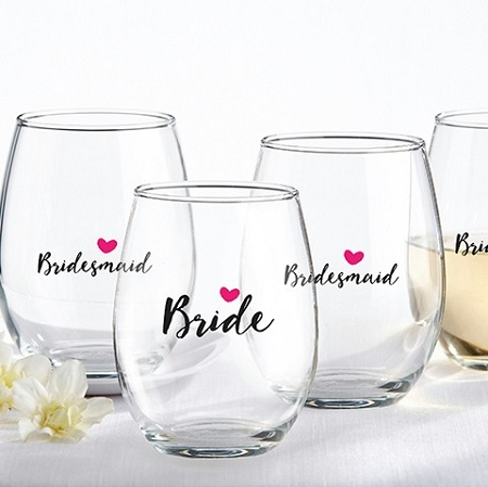 And bridesmaids pink heart 15 oz personalized stemless wine glass