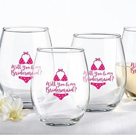 Will You Be My Bridesmaid Beach Bikini 15 Oz Stemless Wine Glass