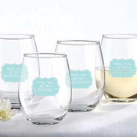 will you be my bridesmaid something blue 15 oz stemless wine glass
