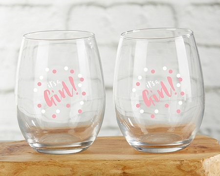 Its A Girl Stemless Wine Glass Baby Shower Favors Baby Shower