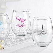 Personalized 15 ounce Stemless Wine Glasses - Wedding