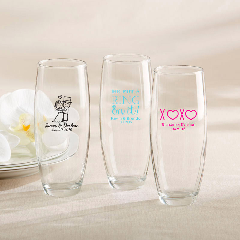 Personalized stemless champagne glasses for wedding