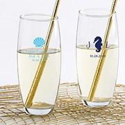 Personalized 9 oz. Stemless Champagne Glass - Seaside Escape