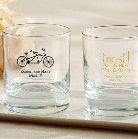 personalized old fashioned rock glass barware favor wedding and
