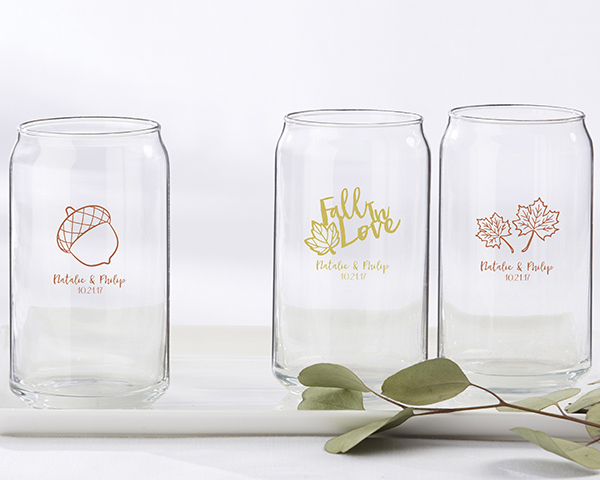 cda4f3206bb Personalized Can Beer Glass Fall Wedding Favors - Fall Theme Wedding