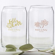 Personalized 16 oz. Can Glass - Fall Theme Wedding