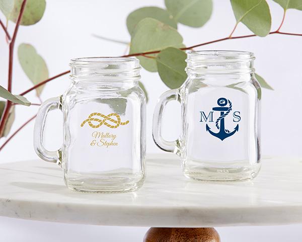 Mini mason jar nautical wedding favors nautical anchor nautical rope junglespirit Gallery