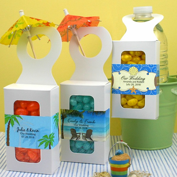 Personalized Wedding Favor Boxes Tropical Beach Theme