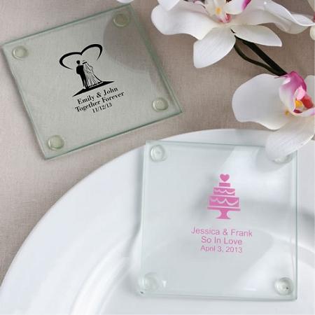 Personalized Glass Coaster Wedding Favors Custom Coasters