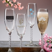 Personalized Champagne Flute with Twisted Stem