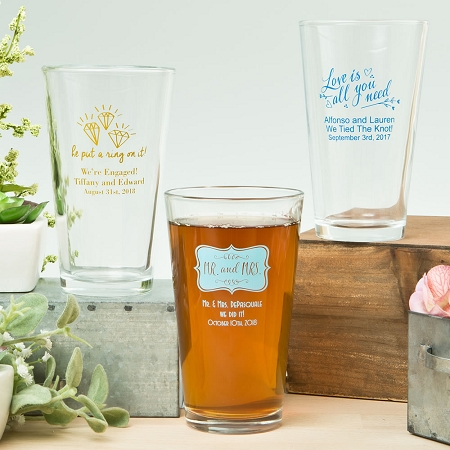 personalized pint glasses wedding favors wedding decor ideas
