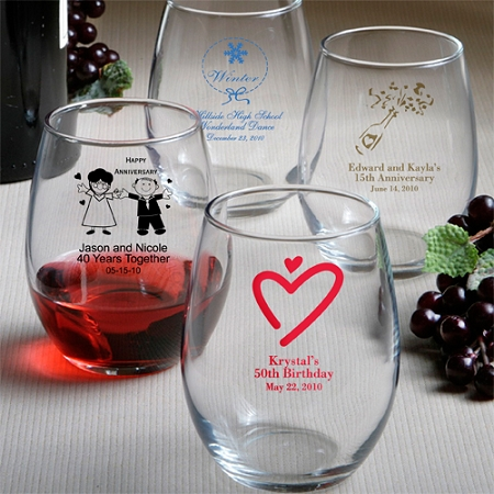 Personalized Stemless Wine Glass - Wedding | Bridal Shower ...