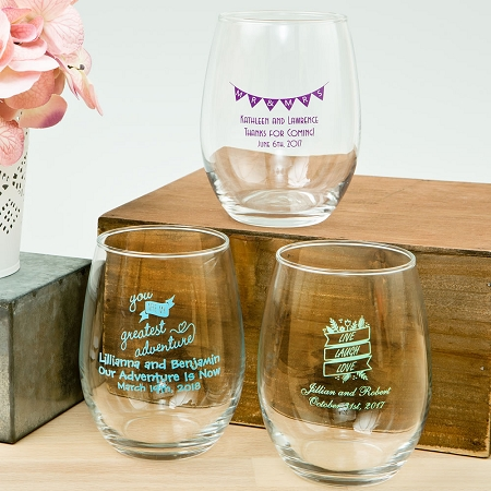 Personalized 15 Once Stemless Wine Glass Wedding Favors