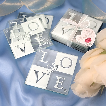 LOVE Glass Coaster Wedding Favors Set Of 4