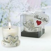 Double Heart Design Glass Candle Holder