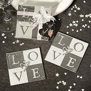 LOVE Glass Coaster Set of 2