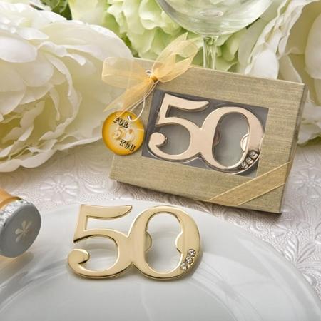 50th design golden bottle opener anniversary birthday