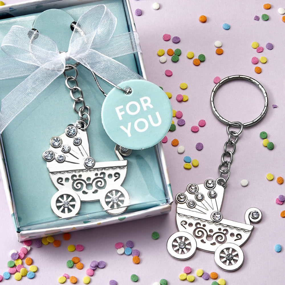 Baby Carriage Keychain VERY SMALL Pacifier Keychain Safety Pin Keychain Baby Shower Keychain Personalized Keychain New Mom Gift New Baby