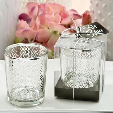 Magnificent Silver Mercury Votive Candle Holder Geometric Design