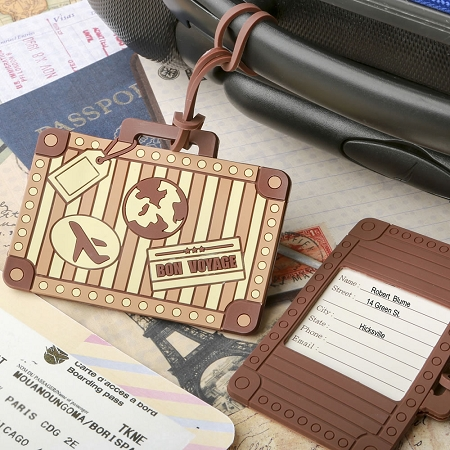 Suitcase Luggage Tag Wedding Favors - Vintage Luggage Travel Party ...