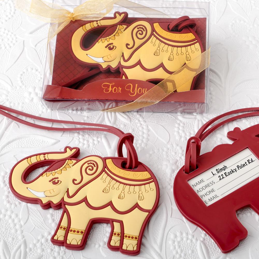Elephant Luggage Tag Indian Theme Wedding Favors Destination