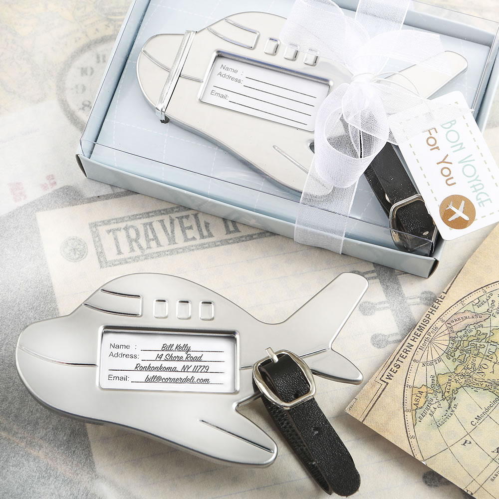 Airplane Shaped Luggage Tag - Wedding Favors - Destination Wedding ...