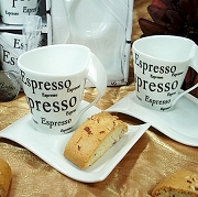 Espresso Design Cup with Biscotti Plate (set of 2)