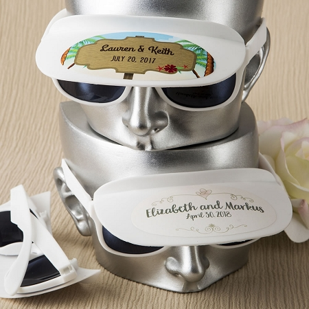 White Personalized Sunglasses With Visor