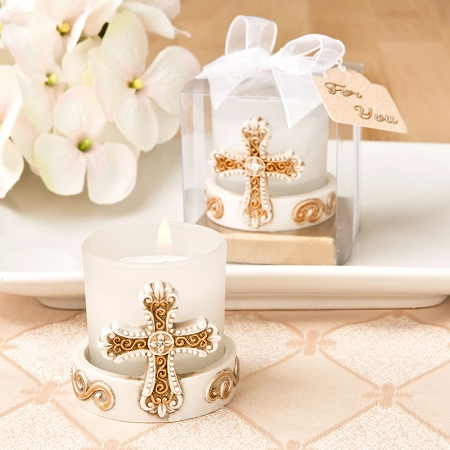 Vintage Cross Themed Votive Candle Religious Christian Candle