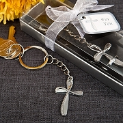Metal Cross Key Chain Beaded Design