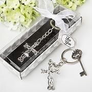 Intertwined Metal Cross Key Chain