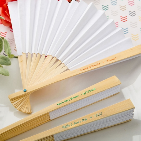 personalized paper fans Personalized paper hand fans for outdoor weddings, summer events and garden parties printed with names and date.