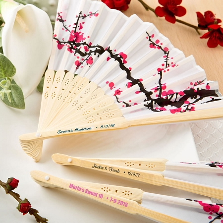 Cherry Blossom Silk Folding Fan Wedding Favors Beach And Outdoor Party