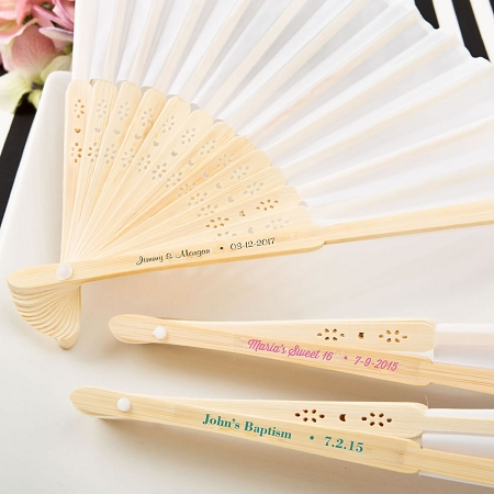 Personalized White Silk Fan Favors Beach Wedding Destination
