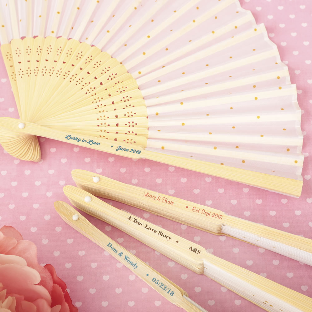 Personalized Wedding Fan Favors - Gold Dot Silk Folding Fan