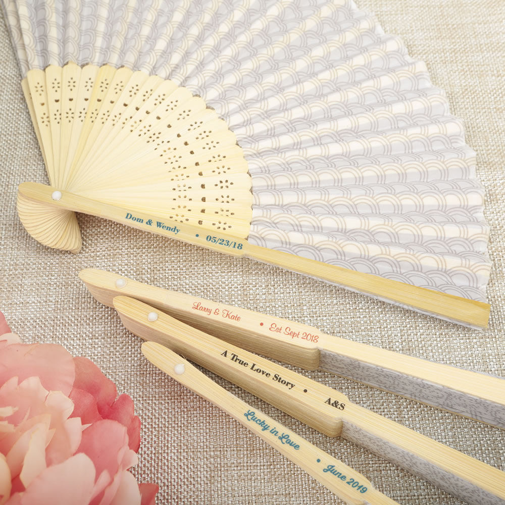Personalized Fan Wedding Favors - Silver Scallop Folding Fan