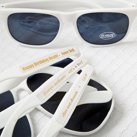Personalized White Sunglass Wedding Favors