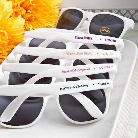 71275fa2e3606 White Customized Sunglass Wedding Favors
