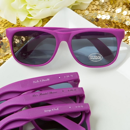 Purple Sunglass Favors With Personalized Stickers