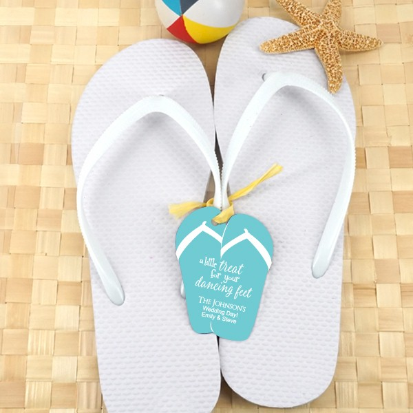 White Wedding Flip Flops Set Of 6 With Personalized Tag