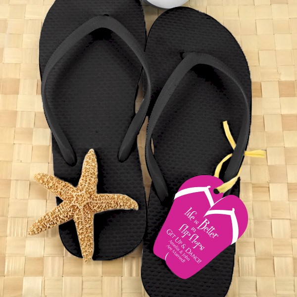 2784a8309d15d5 Black Flip Flops Bridal Shower Favors