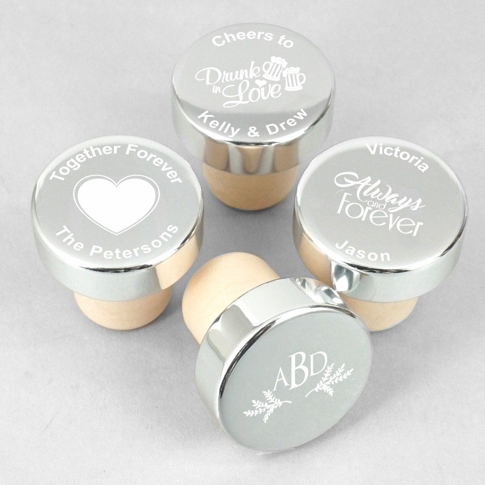 Personalized Silver Aluminum Bottle Stopper Wedding Favors - Wine ...