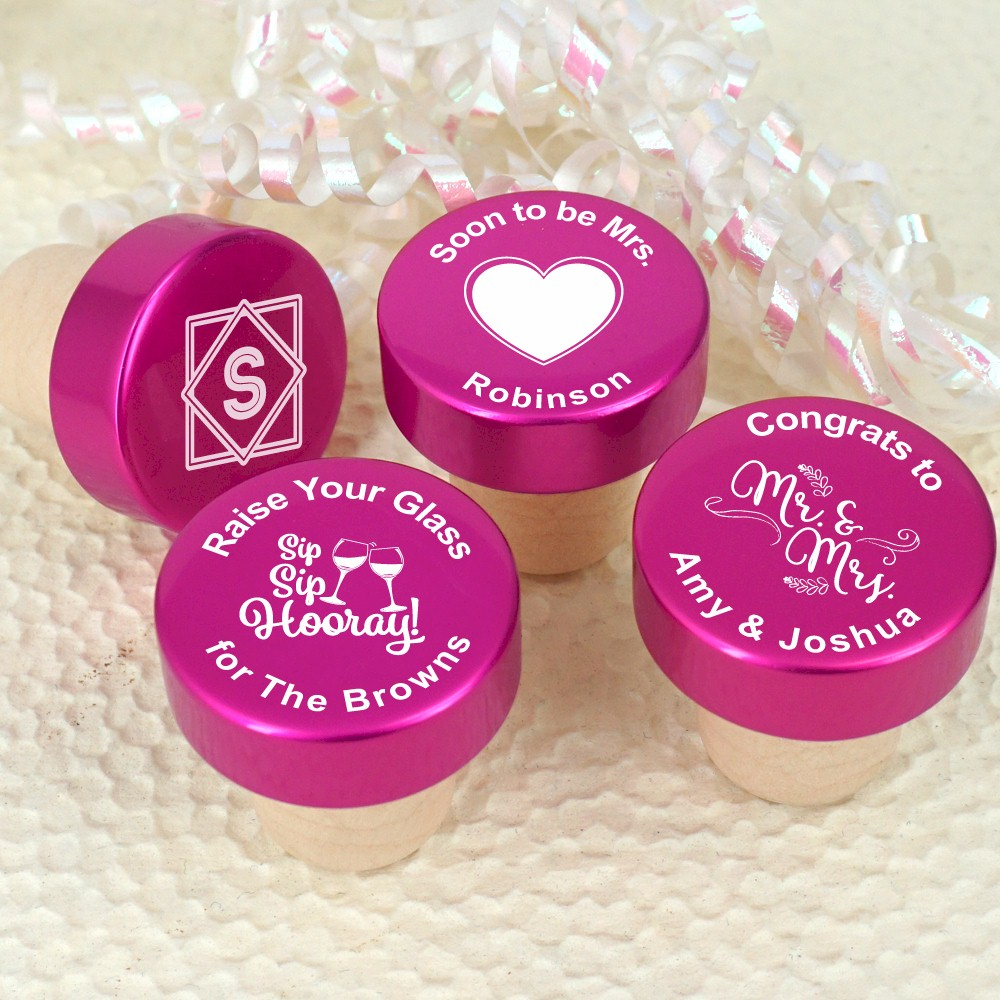 Personalized Pink Aluminum Top Bottle Stopper Favors - Wedding ...