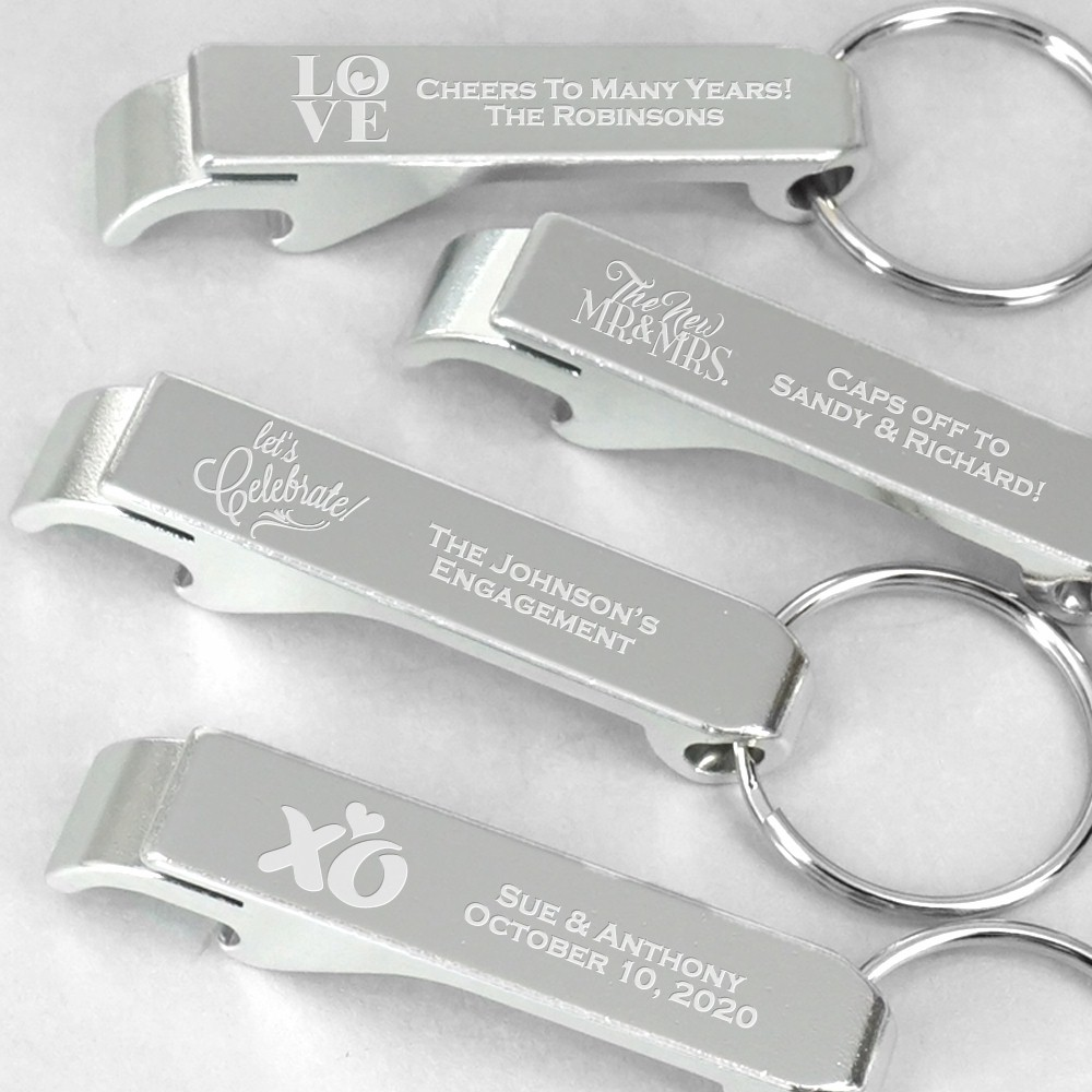 Personalized Bottle Opener and Key Chain Wedding Favors