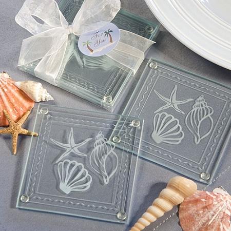 beach themed glass coaster