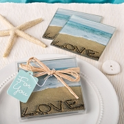 Beach Love Themed Glass Coasters (Set of 2)