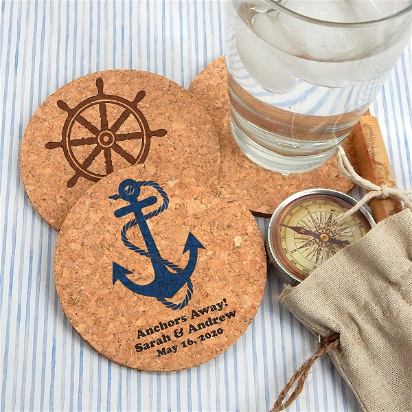Personalized Round Cork Coaster Wedding Favors Beach Wedding